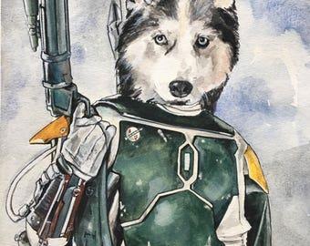 Dog Character Painting-Dog Portraits-Custom Watercolor Pet Portrait-Unique Gift-Pet Portrait-Funny-Star Wars