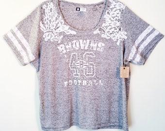 Cleveland Browns T Shirt // Vintage Browns Tee \\ Reworked Vintage T Shirt // NFL T Shirt Womens \\ Womens NFL Shirt