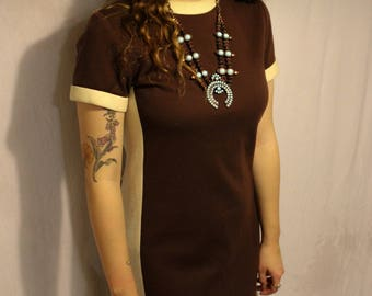 Vintage 1960s Space Age Brown Cream Mod Dress
