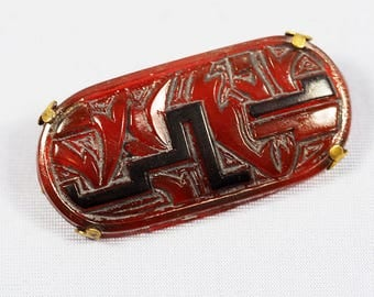 Art Deco Abstract Glass Brooch