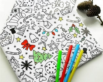Colour-In Christmas Wrapping Paper & Pens