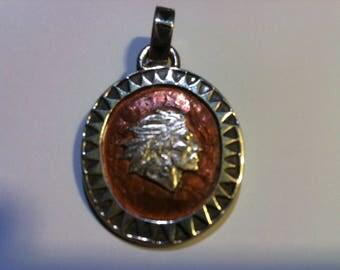 Handmade silver and copper pendant