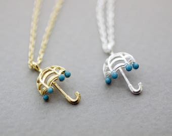 Tiny Umbrella with Turquoise Necklace, Rainy Day Umbrella necklace
