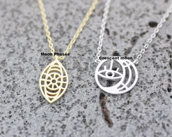 Cut-out Sun and Moon Phases / Sun and Crescent Moon Necklace, Evil eye Necklace, Moon Phases necklace