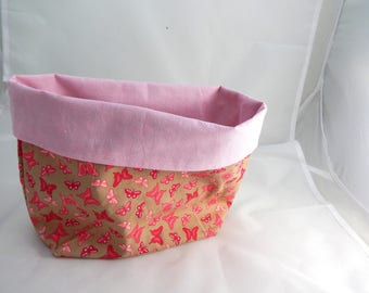 Empty pockets plus size fabric cotton fuchsia butterflies and roses