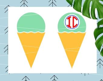 Ice Cream svg summer svg slushie svg popsicle svg snow cone svg monogram svg for Cricut Silhouette vector cut files svg dxf eps lfvs