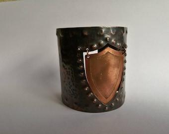 Shield cuff bracelet, Warrior cuff bracelet, Hammered copper cuff bracelet