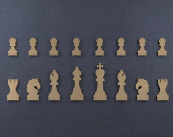 Chess Pieces, Wood Cutout Chess