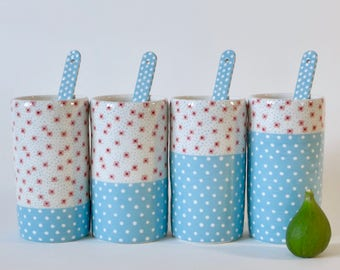 4 cups and spoons - ceramic glasses Liberty style