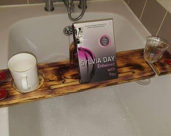 Bath caddy, bath tray, rustic gift, glass holder, bath book holder, iPad holder, tablet holder, wooden bath tray, mothers day gift