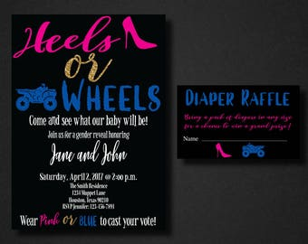 Heels or Wheels Gender Reveal Invitation, Gender Reveal, Wheels, Heels, Boy or Girl, Wheels or Heels