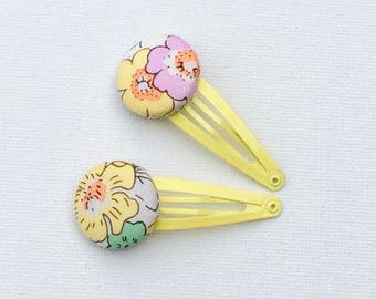 Hair Clips - Liberty of London Tana Lawn Fabric - covered button hair clips