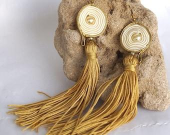 Soutache Earrings Boho Jewelry beads Chandeliers earrings beads Beads Handmade Jewelry