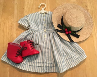American Girl Kirsten Summer Dress, Straw Hat, and Red Boots from Kirsten's Summer Story, Tagged Pleasant Company