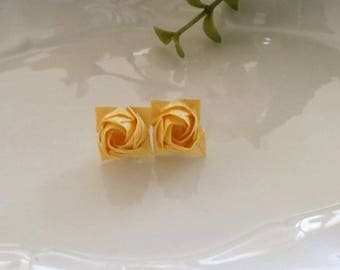 Rose Earrings -Studs Posts - Origami Yellow Roses-Origami Jewellery-Anniversary Gift-Washi Paper
