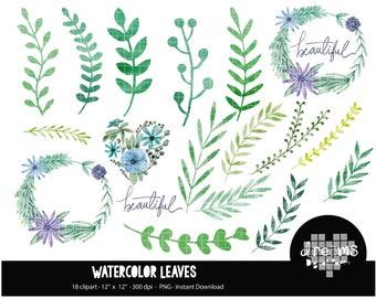 COD70-80% OFF SALE Watercolor Leaves Clipart, Foliage, Green Watercolor Elements,floral, Watercolour digital paper, Watercolor graphics