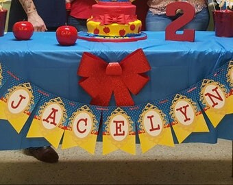 Snow White Birthday Banner Red, Blue and Yellow | Custom Banner