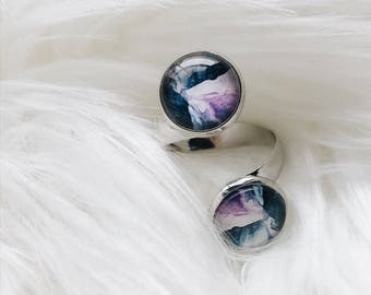 adjustable statement ring silver glass watercolour
