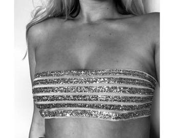Swim By Tay - Gold Glitter Bandeau Bikini