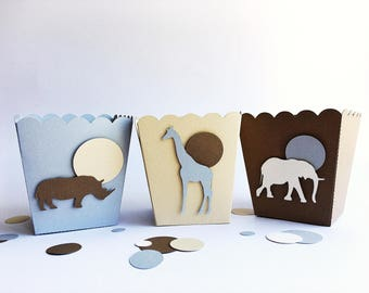 Animals Birthday Favor Boxes Safari Baby Boy Birthday Baby Shower Party Decorations Popcorn Boxes Giraffe Elephant Lion Baby Nursery Decor