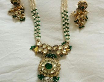 Antique pearl necklace earring set