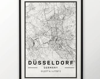 Dusseldorf City Map Print Modern Contemporary poster in sizes 50x70 fit for Ikea frame 19.5 x 27.5 All city available London, New York Paris