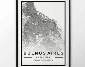 Buenos Aires City Map Print Modern Contemporary poster in sizes 50x70 fit for Ikea frame 19.5 x 27.5 All city available London York Paris