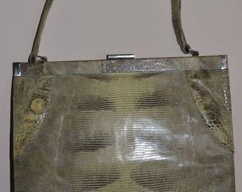 Vintage 1950's Lizard Skin Bag leather handbag
