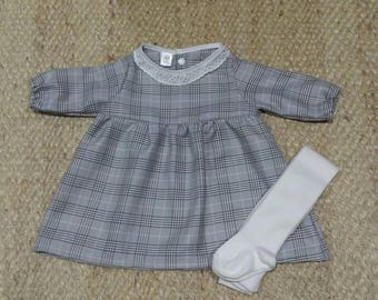 Plaid cotton dress, decorative collar