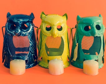 Vintage Owl Lantern Candle Holder // 80's // Deck Lights //