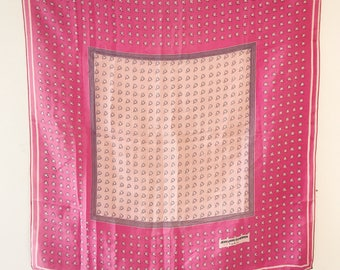 60s Jean Louis Scherrer Pink Floral Print Square Scarf / Girly Print / Delicate Floral Motif / French Designer / 1960s / Sixties