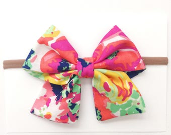 SALE!!! Dancing Floral Sailor/Mary Jane Fabric Bow.