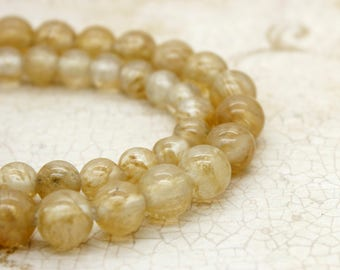 "Yellow Quartz Smooth Round Gemstone 8mm 10mm Beads (8"" strand - 2.5 mm hole)"
