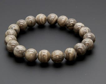 "Jasper Gemstone Beads Size 10mm. Length 8"" Semi-Precious Gemstone Elastic Cord Bracelet Accessories"