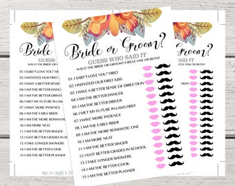 Bride or Groom Who Said It Bridal Shower Games, Fall Bridal Shower Who Said It Game, Wedding Shower Games Template Instant Download