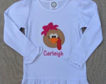 Girls Turkey Shirt, Thanksgiving Shirt,