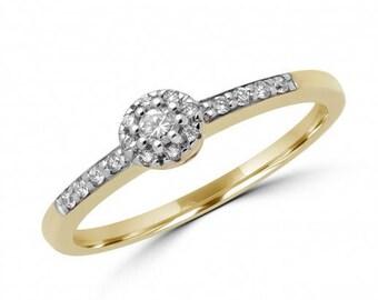 Decorative 0.19 Carat Round Brilliant Diamond Halo Engagement Ring In 14 K White Gold