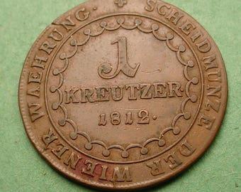Austria 1812-B 1 Kreutzer Nice Details<> Ref Book # KM-2112 Free SH to US # ET641