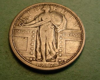 1917-D Type 1   Standing Liberty Quarter Very Fine + Semi-Key Date / Insurance included in SH  <>ET5385