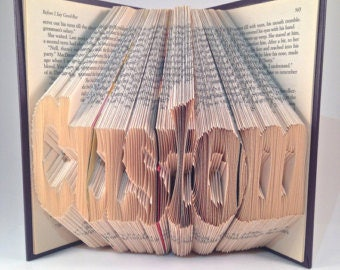 Custom Folded Book Art - First or Last Name