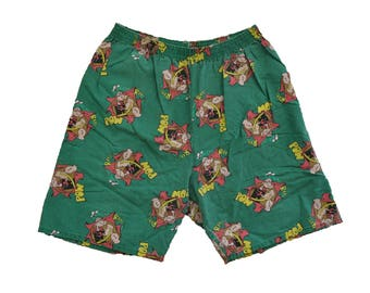 "Vintage 1980s Popeye The Sailor Man ""POW!"" Shorts // M/L // Cartoon // Olive Oyl // Comic // Funny // All Over Print"