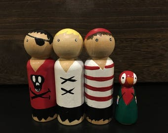 Wooden Peg Doll / Pirate People / Set of 4 / Wooden Peg People, Natural Toys, Imagination Play, Hand Painted Toys, Wooden Toys,