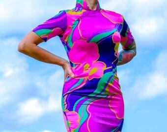Vintage Vibrant 1970s multicoloured mini dress