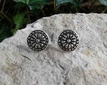 Aztec Earrings, Solid Sterling Silver Aztec Design Stud Earrings, Aztec Jewelry
