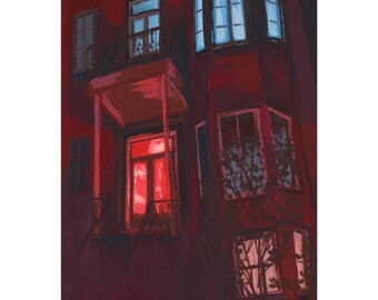 Montreal House at Night – Fine Art Print of Original Painting