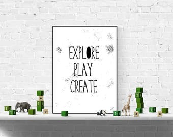Nursery Print - Nursery Decor - Kids Room Print - Monochrome Nursery - Black and White Wall Art - Minimalist - Home Decor - Kids Print