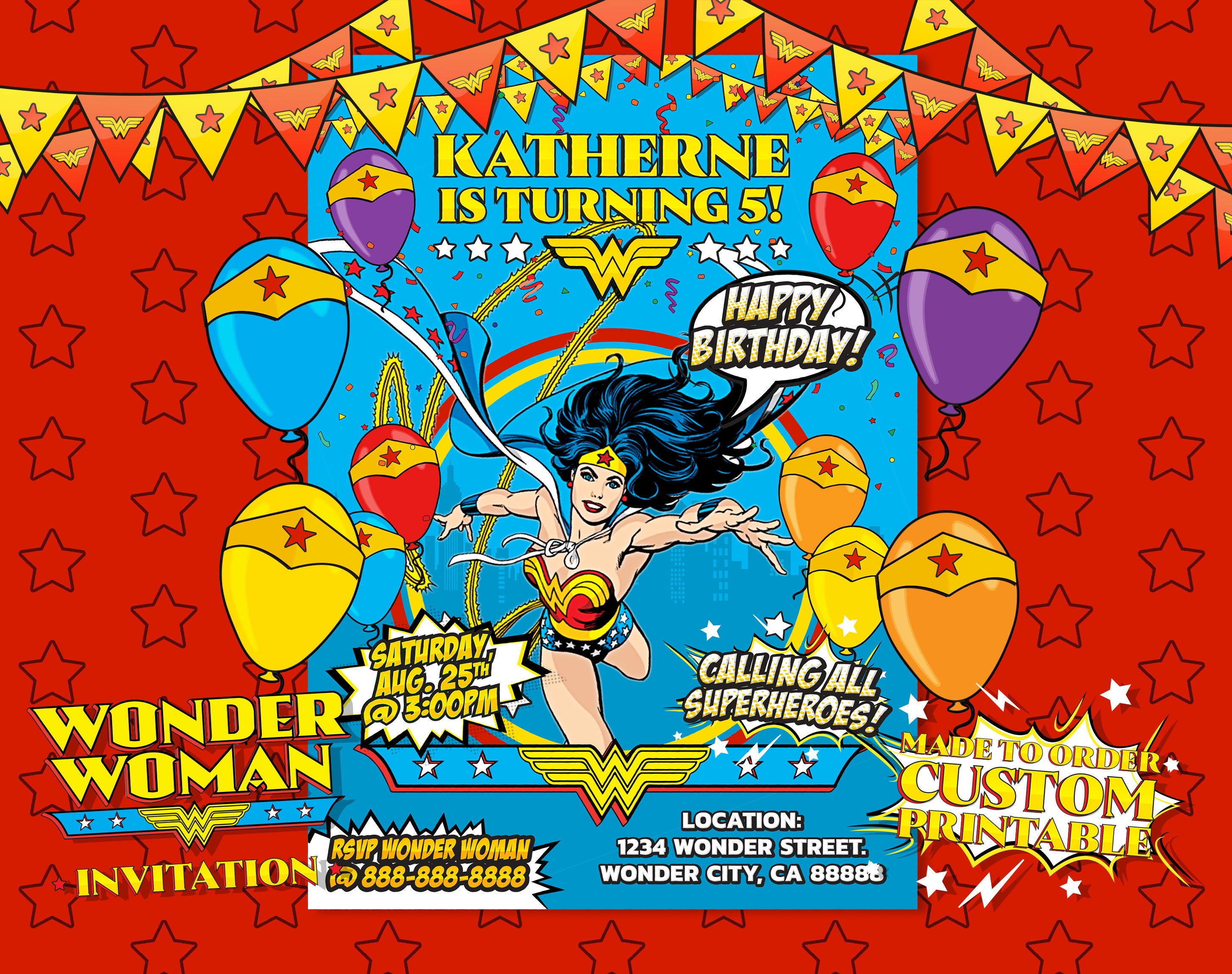 Wonder Woman Invitation Wonder Woman Birthday Wonder Woman