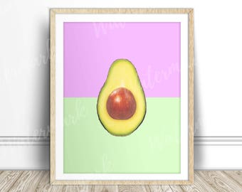 Avocado art print Tropical Fruit wall art kitchen poster Lime lilac Digital printable Instant Download