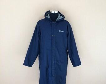 Vintage 90's Champion Fleece Snap Button Hoodies Long Jacket Nice Design / Championproducts Jacket  // Champion Winter Jacket