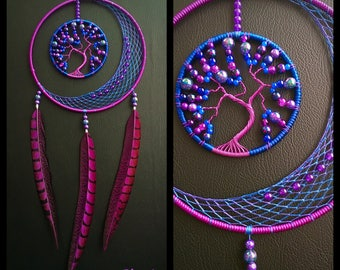 Dream catcher Moon and tree of life blue and purple